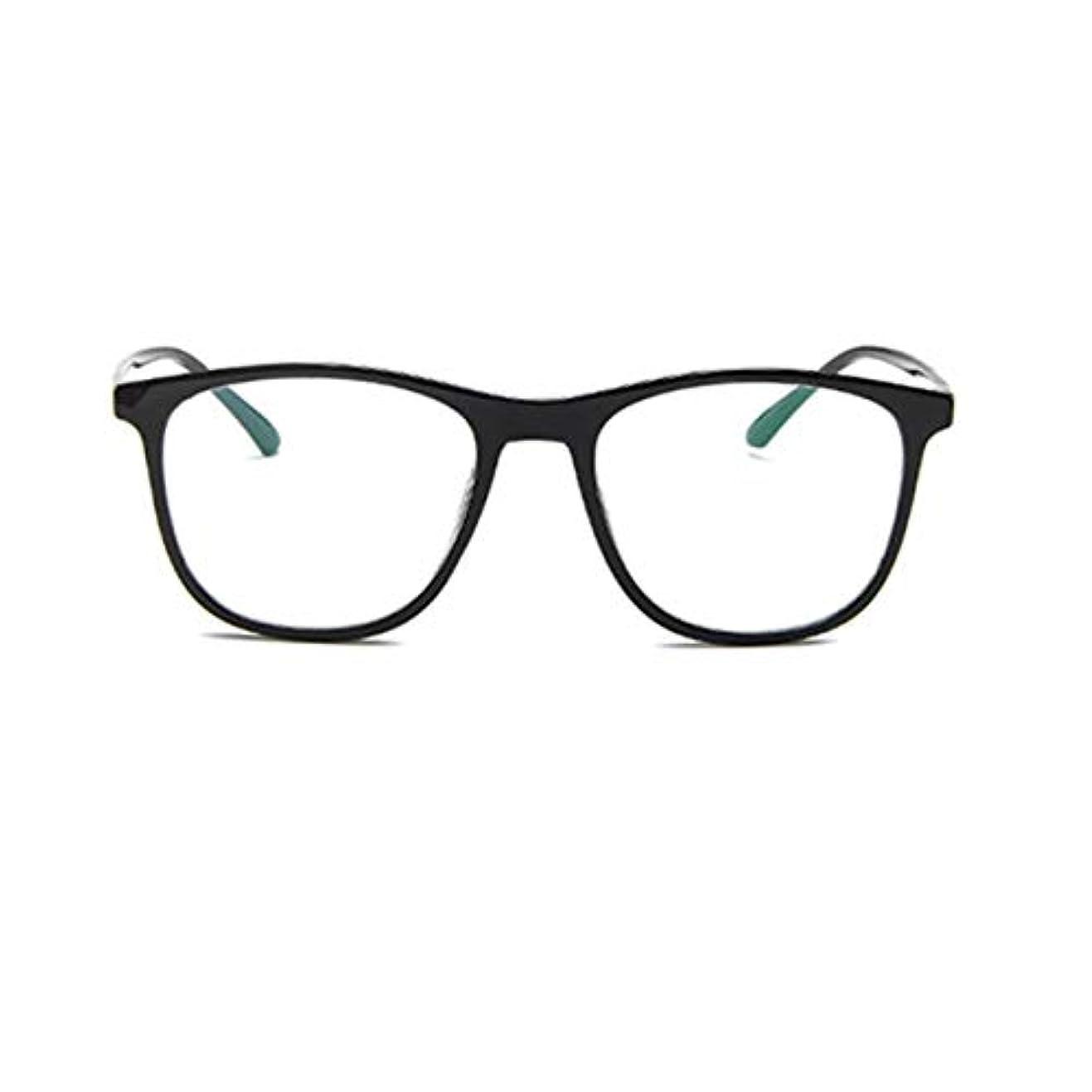 バーター余韻愛する韓国の学生のプレーンメガネの男性と女性のファッションメガネフレーム近視メガネフレームファッショナブルなシンプルなメガネ-ブライトブラック