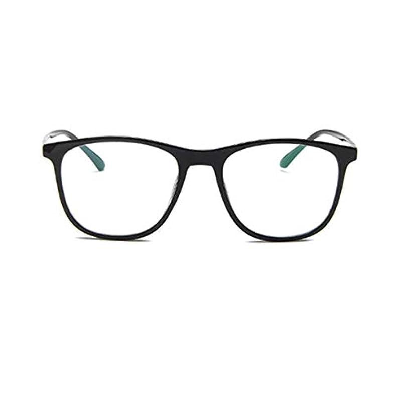 以内に支払い文韓国の学生のプレーンメガネの男性と女性のファッションメガネフレーム近視メガネフレームファッショナブルなシンプルなメガネ-ブライトブラック