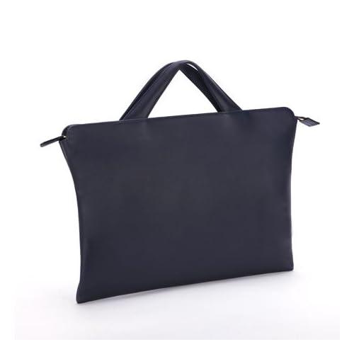 [トライオン] TRION ブリーフケース AA115 A4 バッグ 本革鞄 ビジネス チョコ (ネイビー)
