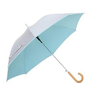 傘と日傘専門店リーベン 日傘 ブルー 60cm×8本骨 リーベンひんやり傘 無地ジャンプ傘 遮熱 遮光 LIEBEN-0102
