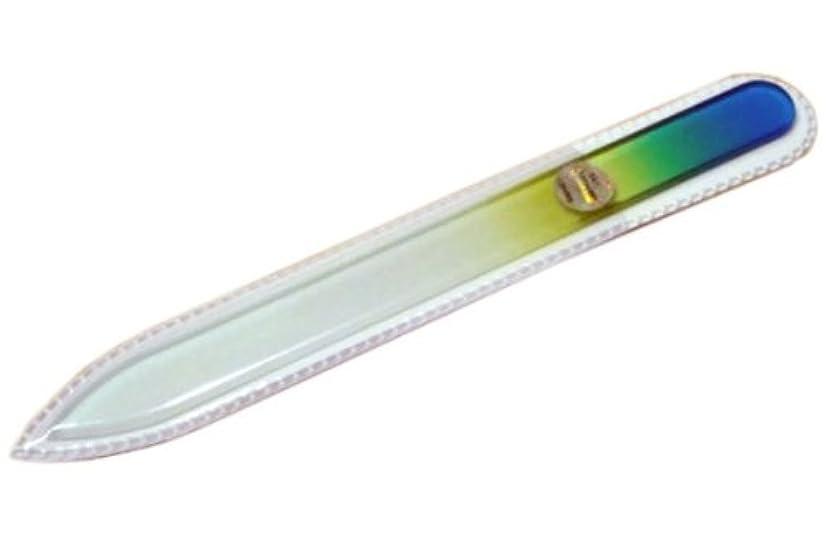 手紙を書く想像するに渡ってブラジェク ガラス爪やすり 140mm 片面タイプ(グリーングラデーション #04)