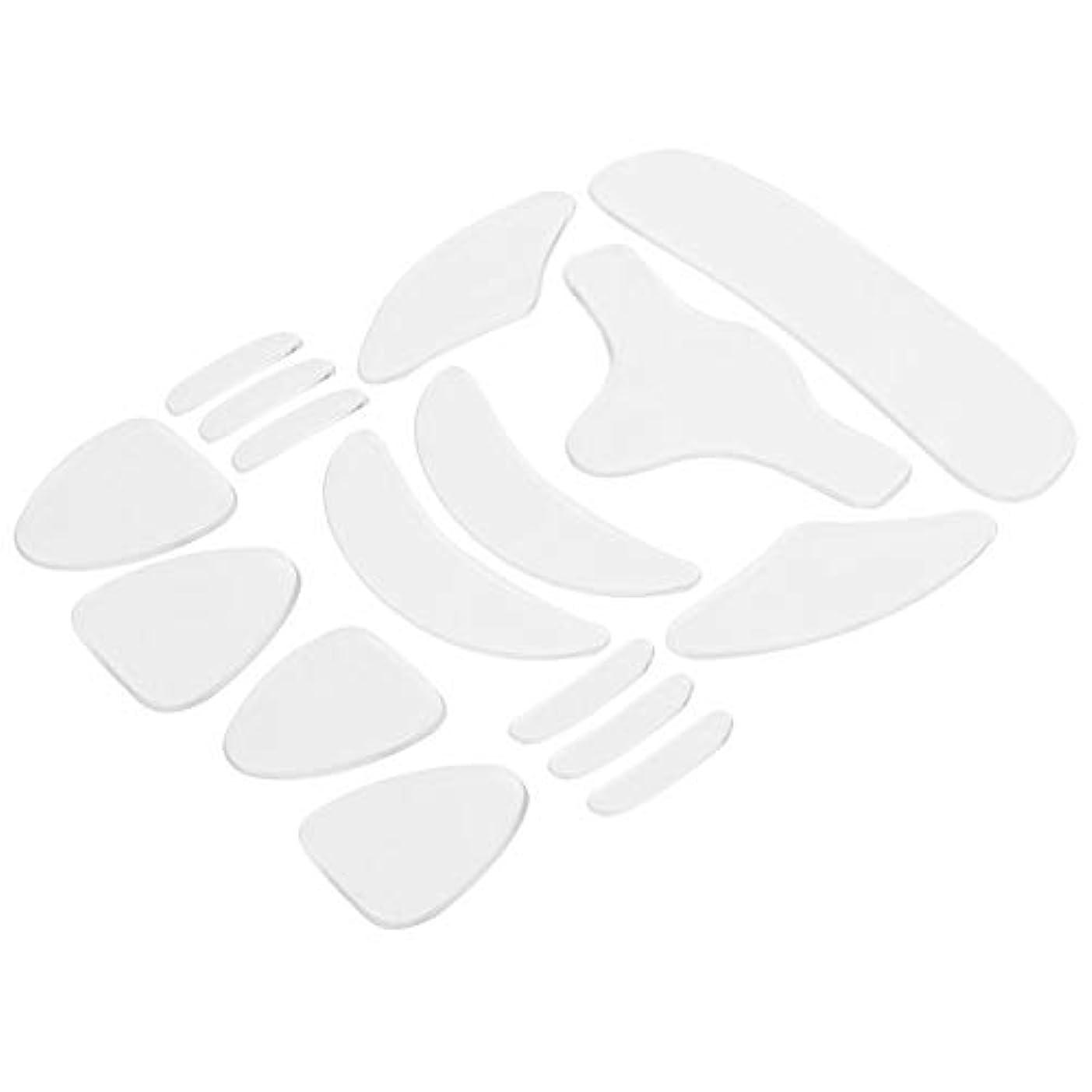 滝村破壊的シリコーン額パッド 再利用可能なシリコーンのしわ防止のしわの顔のステッカー 額のステッカー頬のステッカー顎のステッカー 16点セット