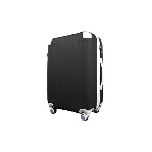 スーツケース/キャリーバッグ 【Mサイズ/中型4~6日】 TSA搭載 軽量 ファスナー ブラック(黒)×ホワイト(白)