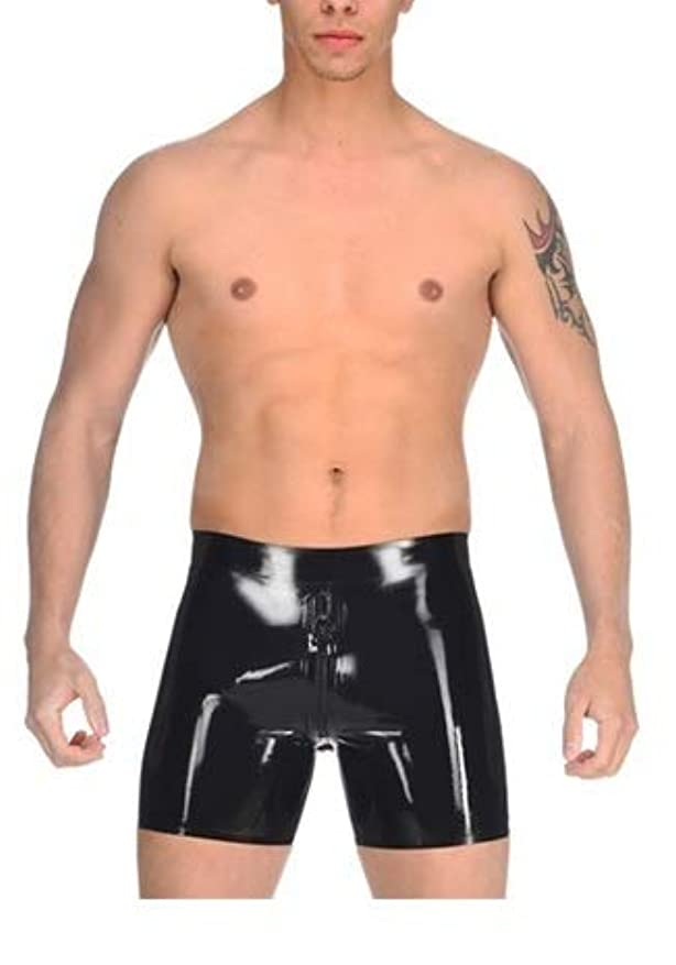 外科医ブラケットアッティカス男の人 エマルジョン パンツ 半ズボン 大人になる ブラック 肛門 コンドーム 全く新しい 三角 平角 0.4 mm 引き伸ばし 性 パーティー コスプレ (L)