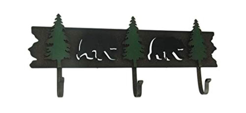 DeLeon Collections メタル装飾ウォールフック ロッジスタイル ブラックベアと松の木 装飾ウォールフックラック 19.5 X 8.13 X 2.13インチ ブラウン
