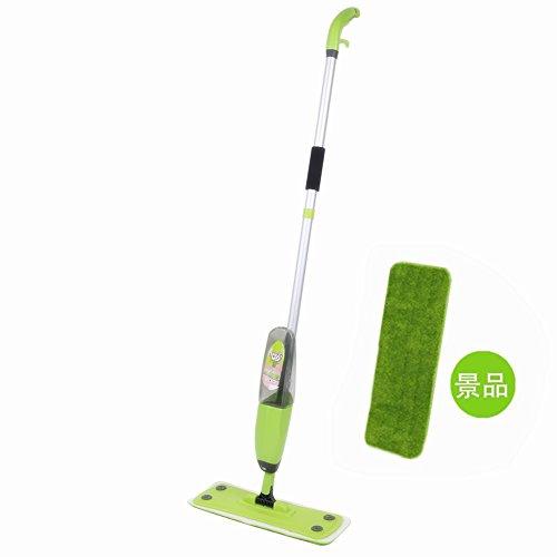 フロアモップ スプレー一体型 回転式 水拭きモップ リムーバブル 噴水 クリーナー 床・フロア 掃除 フロアワイパー 片手で操作可能 マイクロファイバー 交換用パッド2枚付き フローリングに適用 グリーン