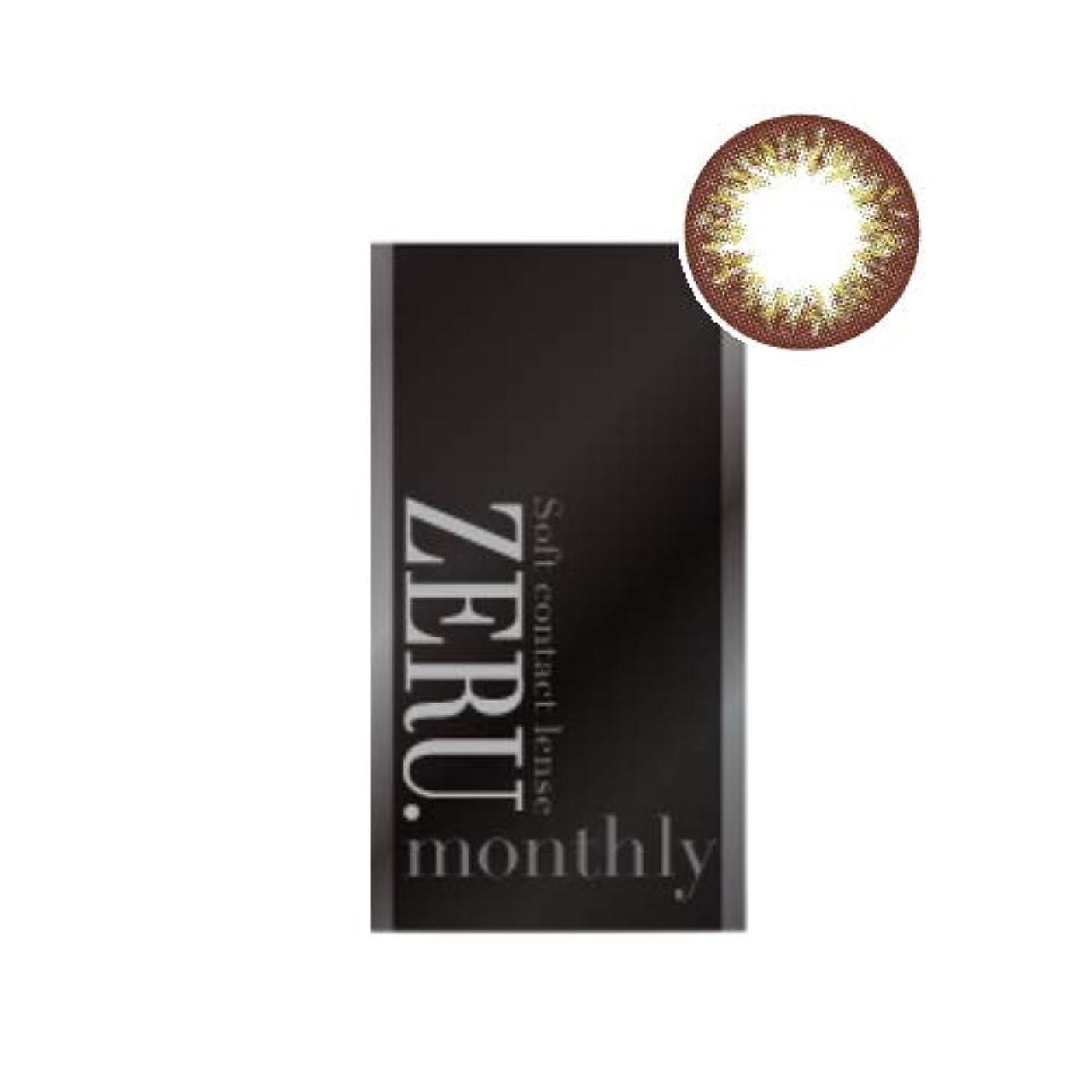 ゼルマンスリー ZERU.monthly 1箱1枚 1ヶ月 度あり/度なし 14.2ミリ 14.27ミリカラコン(ヴィル オリーブPWR:-2.00)