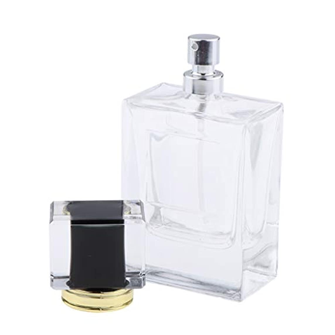 一過性大惨事長方形B Baosity 香水瓶 化粧ボトル 透明ガラス ポンプスプレーボトル 手作りコスメ 4色選べ - ブラック