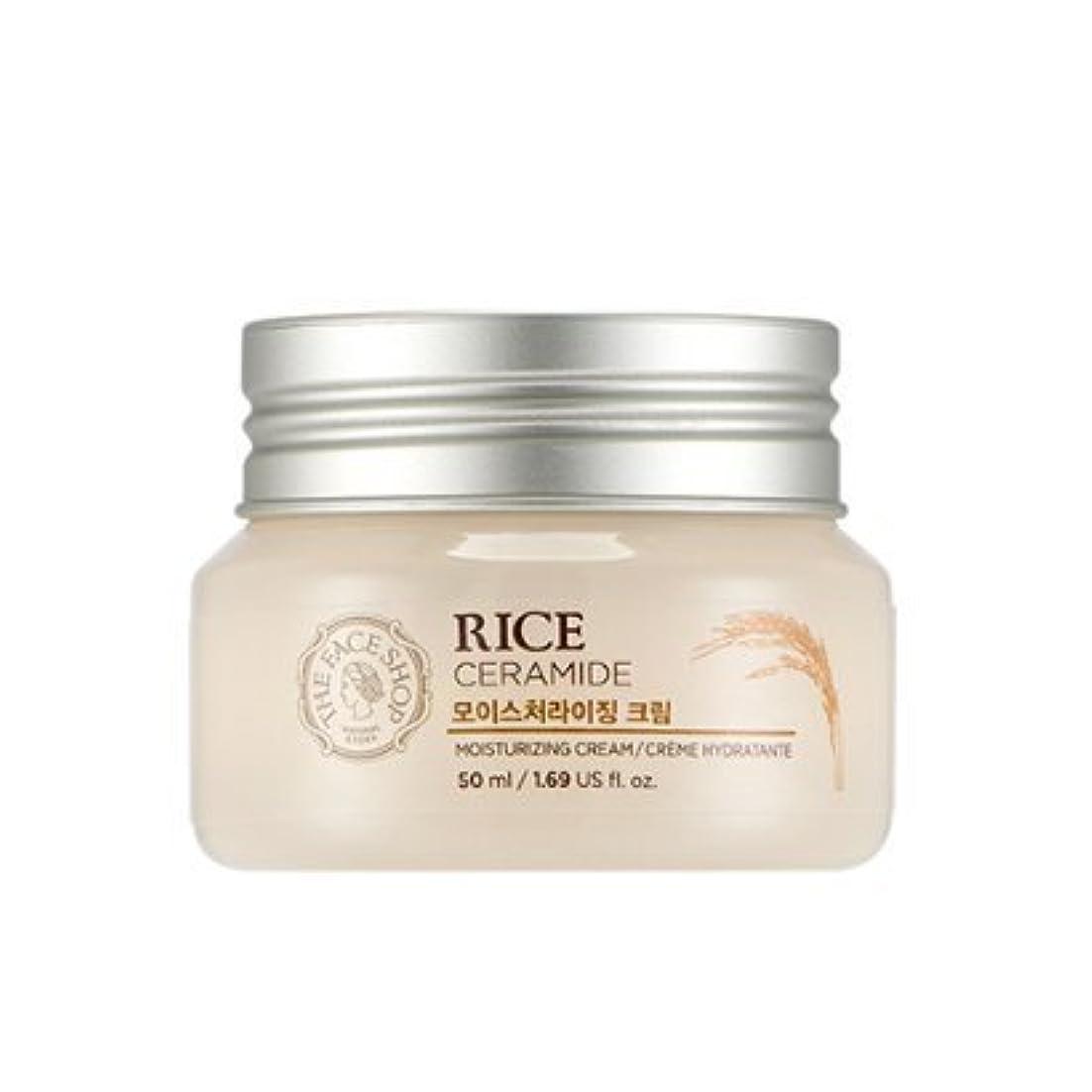 役立つ強度アイスクリームTHE FACE SHOP Rice & Ceramide Moisturizing Cream ザフェイスショップ ライス&セラミドモイスチャーライジングクリーム [並行輸入品]
