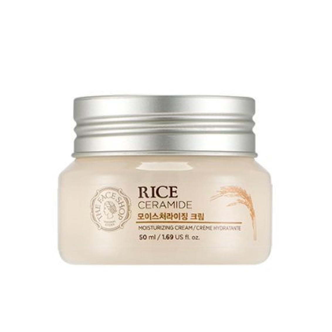 堤防ミサイルユーモラスTHE FACE SHOP Rice & Ceramide Moisturizing Cream ザフェイスショップ ライス&セラミドモイスチャーライジングクリーム [並行輸入品]