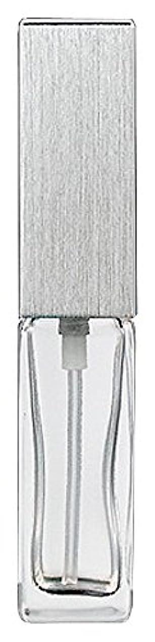 15491 メンズアトマイザー角ビン クリア キャップ ヘアラインシルバー