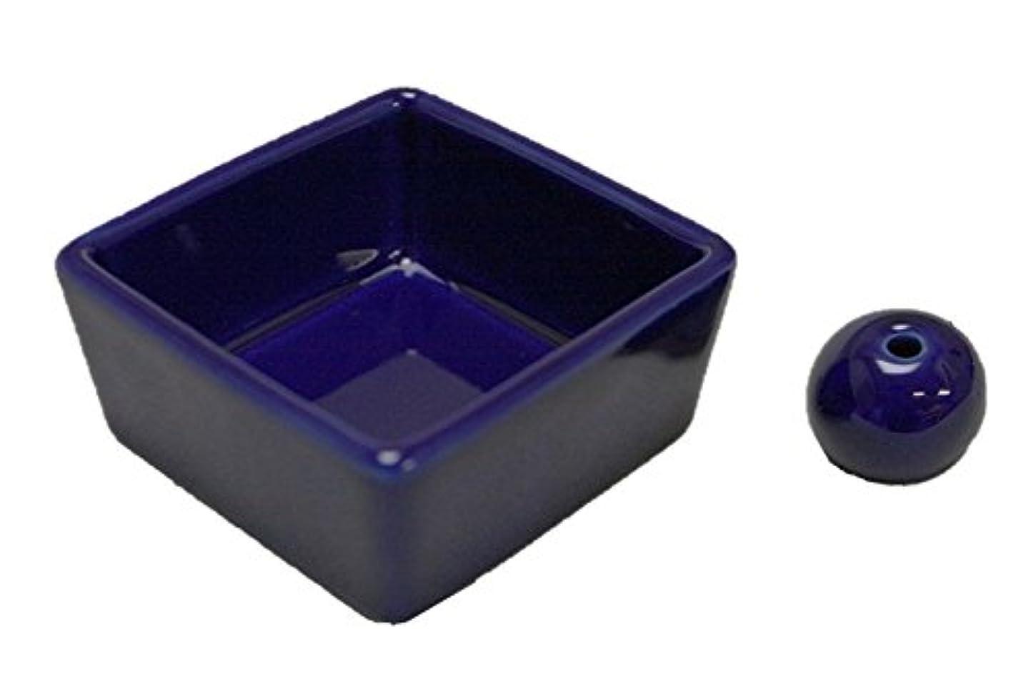 トラックメイド恥ずかしい和モダン 瑠璃色 お香立て 陶器 角鉢 製造直売品