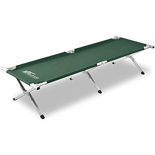 FIELDOOR アウトドアコット 耐荷重180kg 190×69×40cm 【グリーン】 アルミ キャンプベッド ベンチ 折りたたみ式