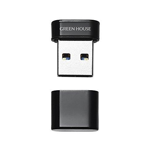 グリーンハウス USBメモリ 32GB USB3.1 Gen1 (USB3.0/2.0) 対応 転送速度 最大5Gbps (USB3.1理論値) 超小型 ブラック GH-UF3MA32G-BK