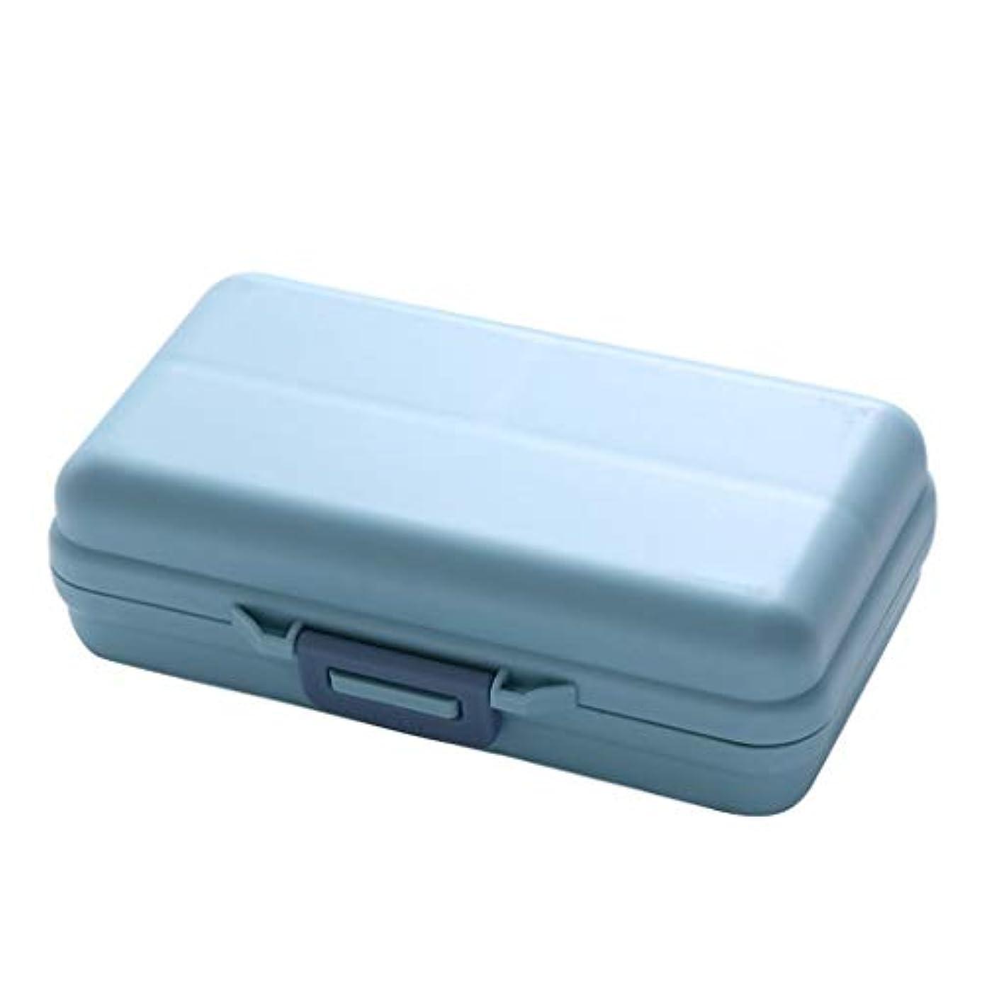 欲求不満育成重くするCQ 防湿密閉式ディスペンシングマルチグリッドボックスポータブルミニウィークスモールピルボックスストレージピルメディシンボックス (Color : Blue/M)
