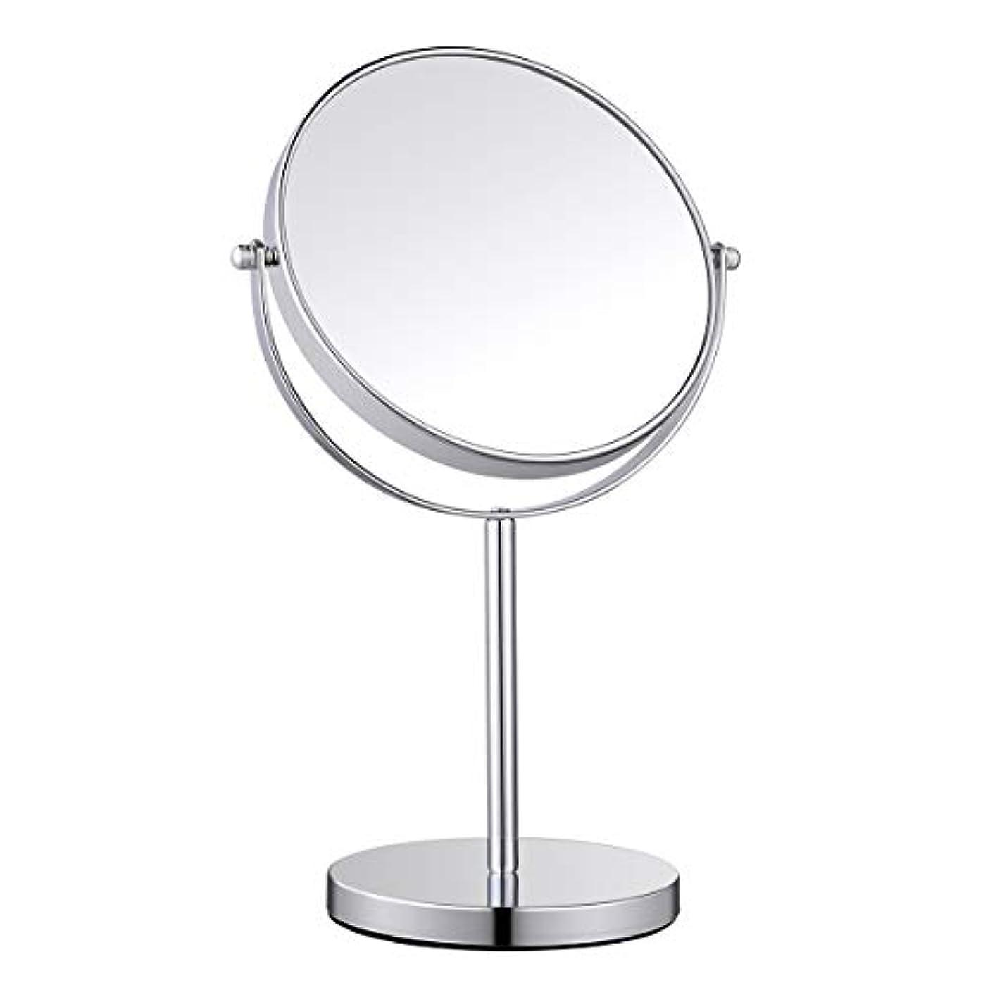 ホテル革命黒板Ovonni 卓上鏡 化粧鏡 卓上ミラー 両面鏡 360°回転 等倍鏡&3倍拡大鏡 光学レンズ高解像度 シンプル (太い 鏡面20cm)