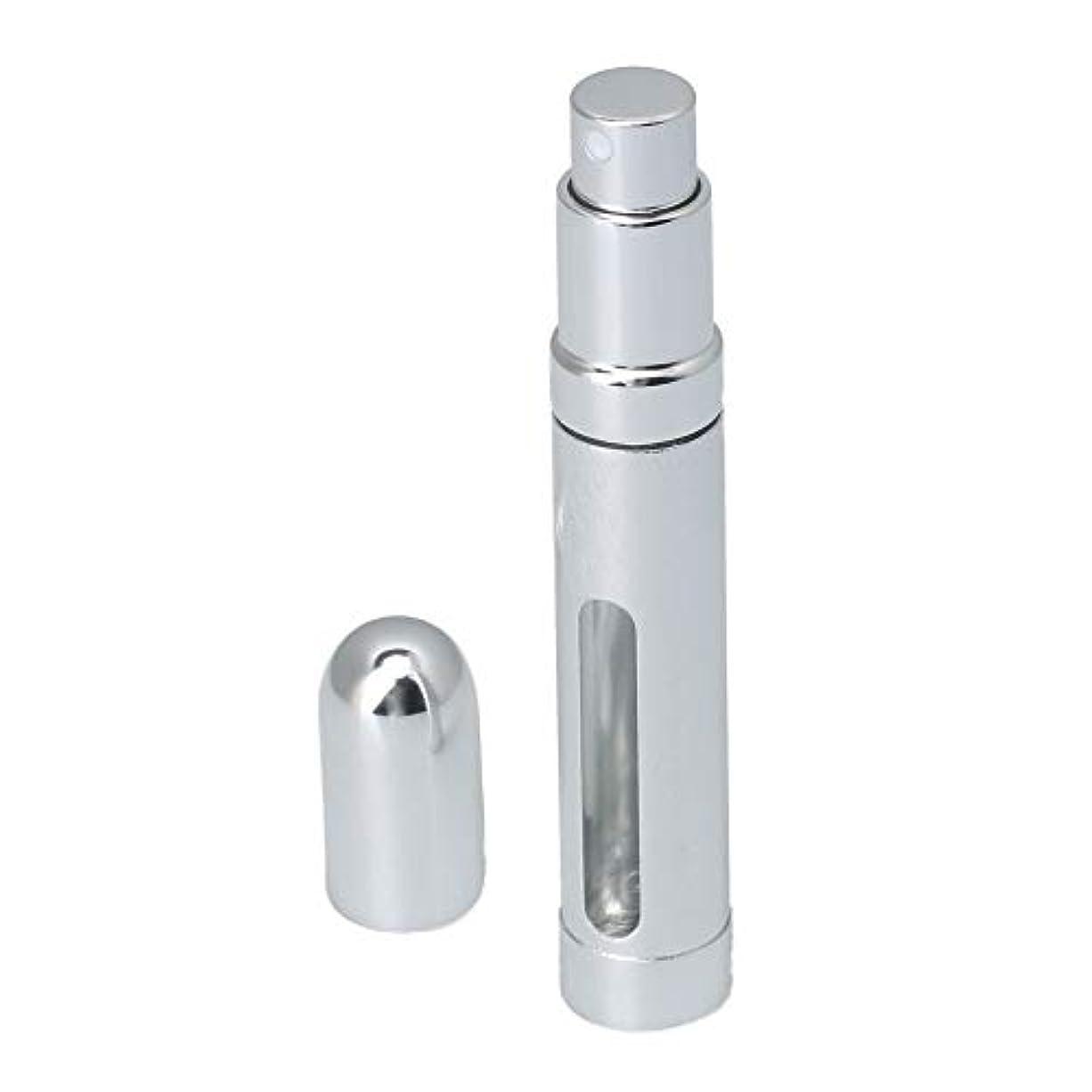 棚ハードウェア混乱させるKaityoffice 丸チューブ香水瓶 スプレーボト 陽極酸化アルミカバー 窓付 12ml シルバー