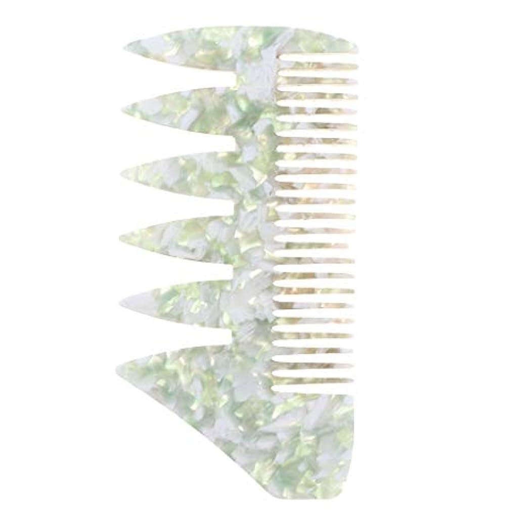 ステンレスアルファベットブラケットCUTICATE 男性 ヘアピックコーム サロン 広い歯 ヘアスタイリングコーム 全4色 - 緑