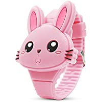 Kids Watch,Girls Watch Digital Cute Rabbit Shape Pink LED Fashion Silicone Band Clamshell Design Wrist Watch Girl Gifts