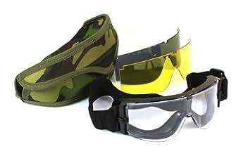 【迷彩バック付き】 X800タイプ タクティカルゴーグル 3色レンズ(グレー・クリア・イエロー) ■警察 陸上自衛隊 SWAT 軍隊 ミリタリー■