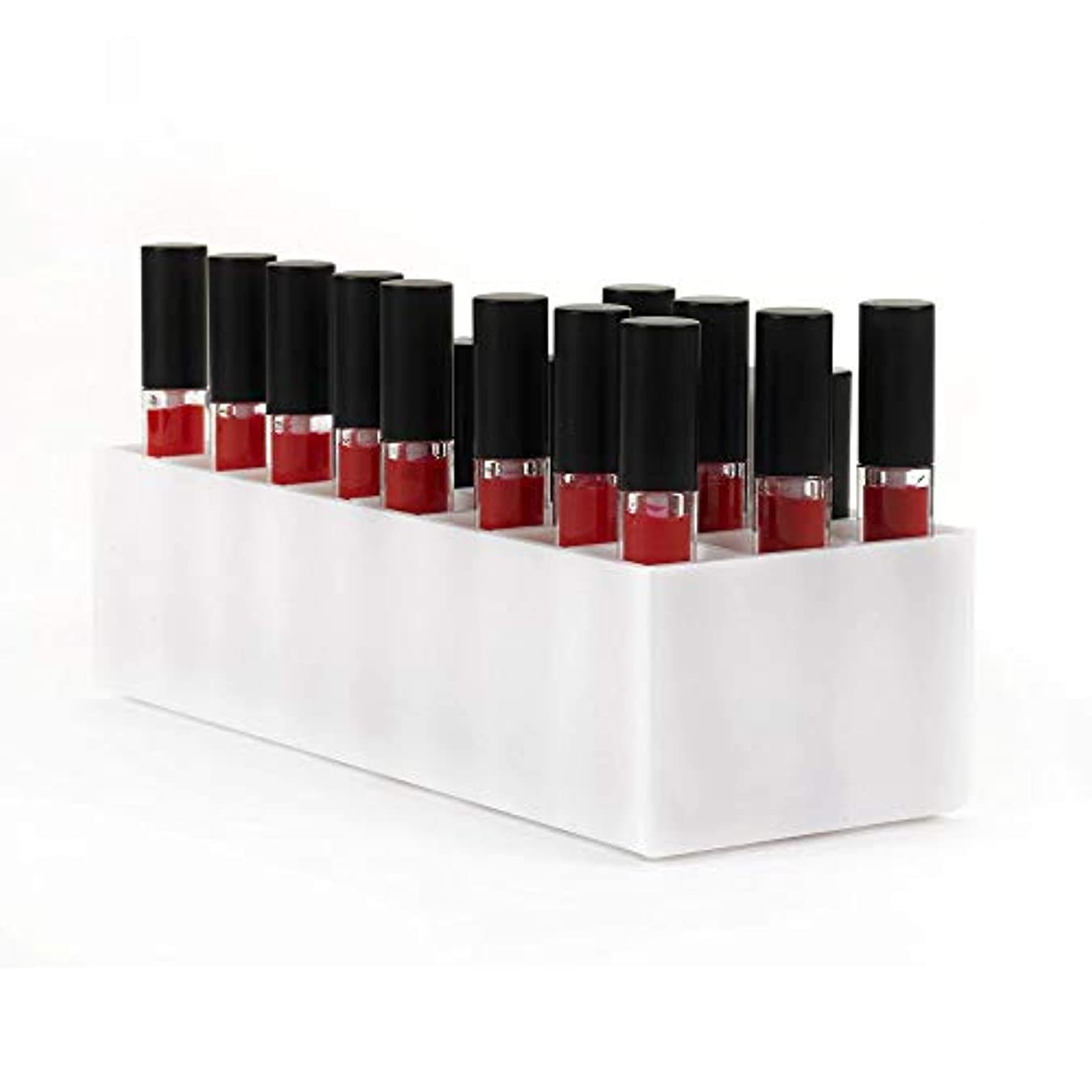 みぞれ半ばパノラマアクリルリップケース口紅ホルダー リップスティック収納 コスメ収納スタンド 化粧品コレクション 口紅収納ケース リップスティックスタンド リップスティック ホルダー (24, 白)