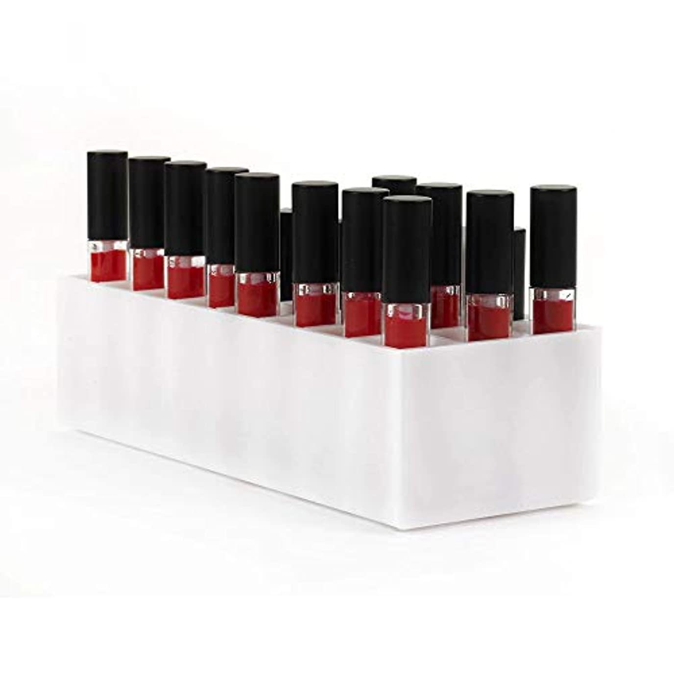 おいしい検査グリーンバックアクリルリップケース口紅ホルダー リップスティック収納 コスメ収納スタンド 化粧品コレクション 口紅収納ケース リップスティックスタンド リップスティック ホルダー (24, 白)
