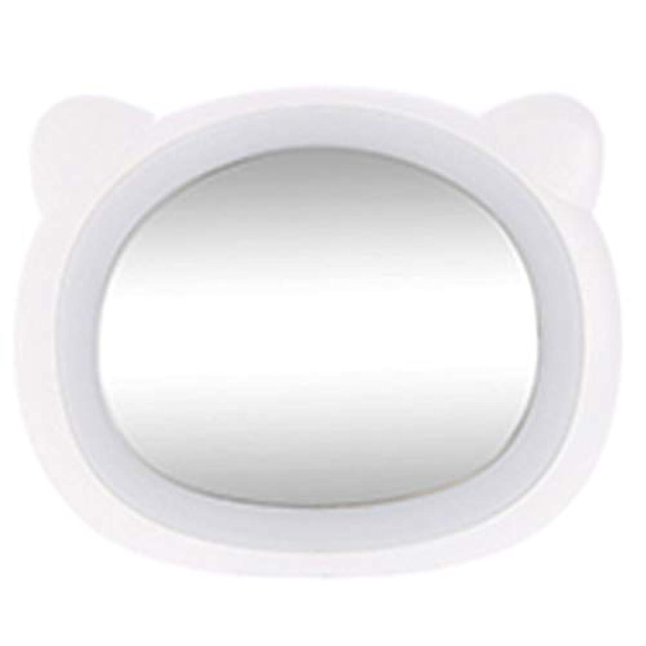 ショートメアリアンジョーンズペアHOIBAI 化粧鏡 LEDライト付き 浴室鏡 化粧ミラー 女優ミラー ハンドヘルド 化粧 クリエイティブ 女の子の誕生日プレゼント ハンドミラ ポータブルミラー 可愛い携帯  USB給電 メイクミラー プレゼント 持ち運び安い (熊ホワイト)