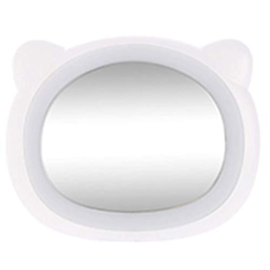 奇妙な恥管理者HOIBAI 化粧鏡 LEDライト付き 浴室鏡 化粧ミラー 女優ミラー ハンドヘルド 化粧 クリエイティブ 女の子の誕生日プレゼント ハンドミラ ポータブルミラー 可愛い携帯  USB給電 メイクミラー プレゼント 持ち運び安い (熊ホワイト)