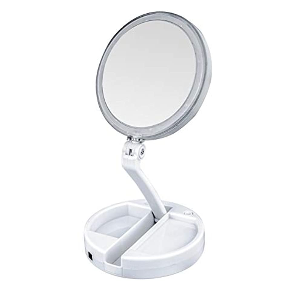 知恵無能貸し手lily's JP home 化粧鏡 拡大鏡 LEDライト付き 女優ミラー 両面鏡 折りたたみメイク鏡 携帯便利360°回転ミラー USB充電式と電池式 収納ボックス付き 照明用