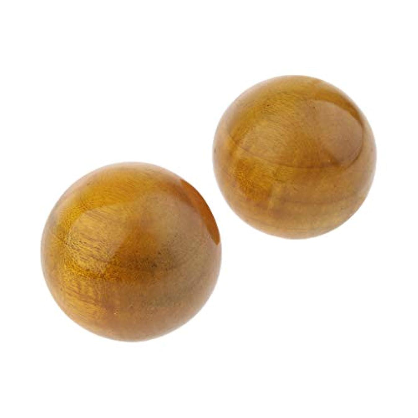 こどもの日担保人生を作る2個 ハンドマッサージボール フィットネス 木製 手のひら 運動マッサージ 保定ボール