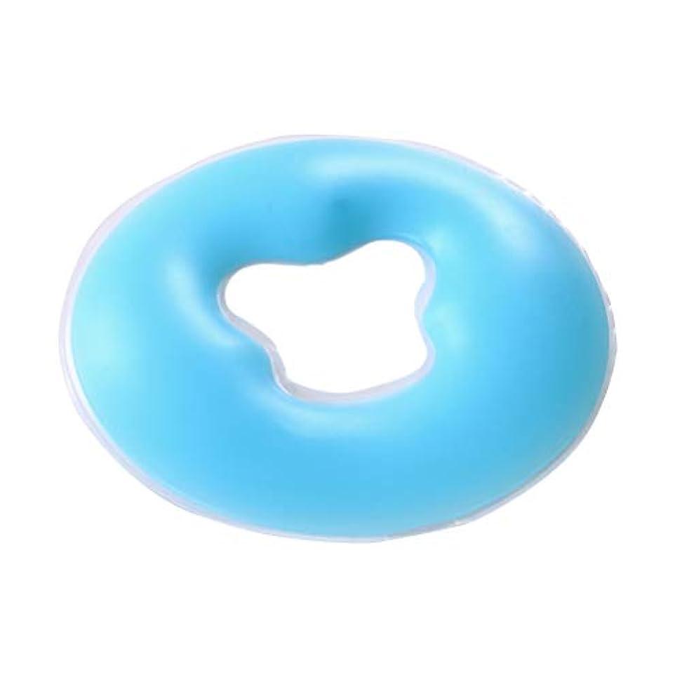 ズーム豚ゆりかごSUPVOX マッサージテーブルフェイスクレードル用シリコンフェイスマッサージピロースパビューティーサロンケアクッション(ブルー)
