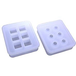 TABLE TREE (テーブル ツリー)2個セット 正方形 (キューブ型)球体 シリコン モールド ネックレス アクセサリー パーツ ビー玉 作成 抜き型 等に S-014 (16mm)