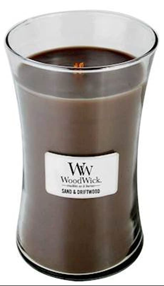 釈義驚きぶら下がるSand Driftwood WoodWick 22オンス 大きなジャーキャンドル 燃焼時間180時間