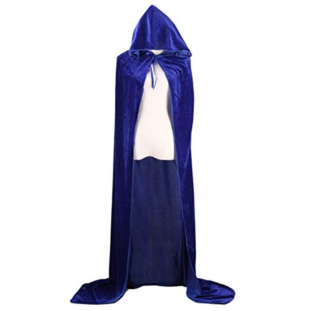 不承認天使魂ハロウィンデスマントコスウィザードウィッチプリンスプリンセスマントゴールドベルベットマントマントフード付きポリエステルマント-ロイヤルブルー100cm