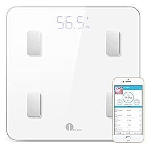 1byone 体重·体組成計·体脂肪計 スマートスケール 体重/体脂肪率/体水分率/推定骨量/基礎代謝量/内臓脂肪レベル/BMIなど測定可能 Bluetooth対応 iOS/Androidアプリで健康管理 赤ちゃんの体重計算可能