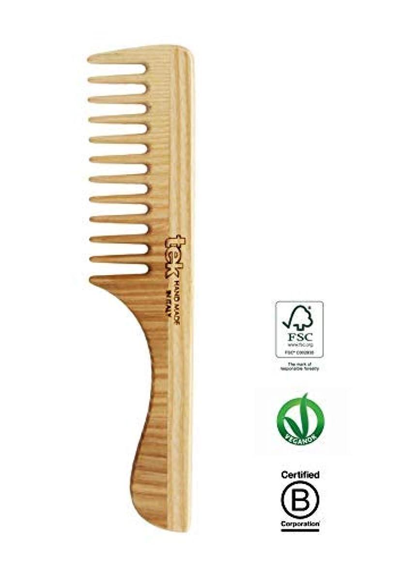 放牧するモーター剛性Tek hair comb in ash wood with wide teeth and handle - Handmade in Italy [並行輸入品]