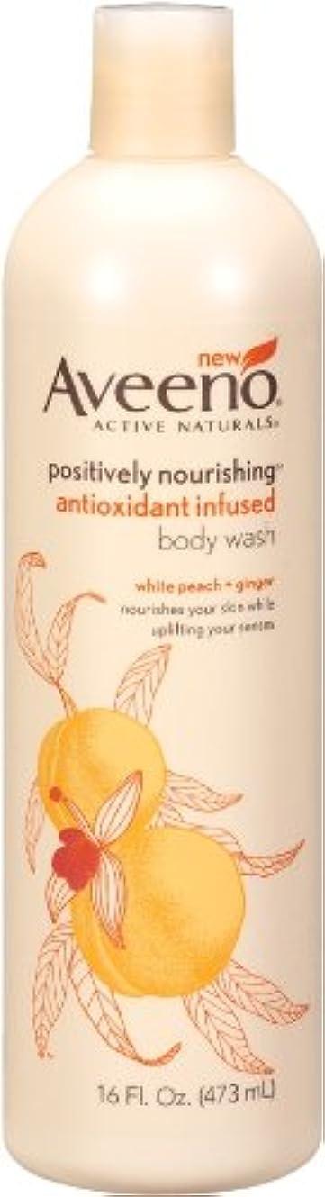 最終頬骨ウッズAveeno Positively Nourishing Anti-Oxidant Infused Body Wash White Peach + Ginger, 16 Ounce (Pack Of 2) by Aveeno