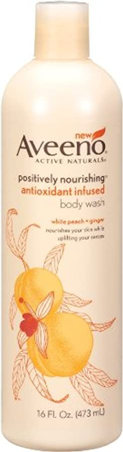 耕す保証ワイプAveeno Positively Nourishing Anti-Oxidant Infused Body Wash White Peach + Ginger, 16 Ounce (Pack Of 2) by Aveeno