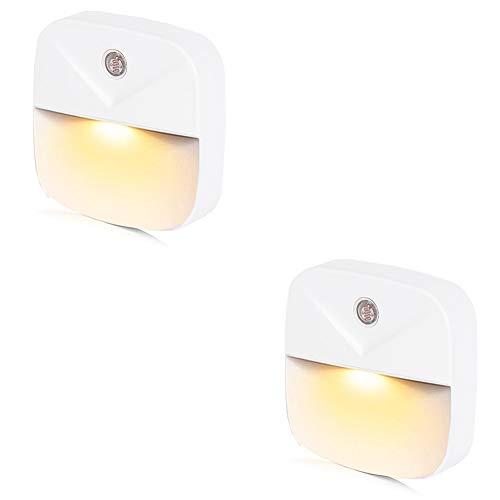 LEDナイトライト足元灯 常夜灯 Bestliving フットライト 明暗センサー コンセント 暖色眩しくない 寝室/階段/廊下/浴室/暗い部屋等に適用 (暖色 2点セット)