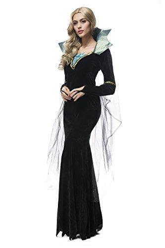 吸血鬼レディースイブニングドレスブラック魔女ガウンコスチュームShow布 カラー: ブラック