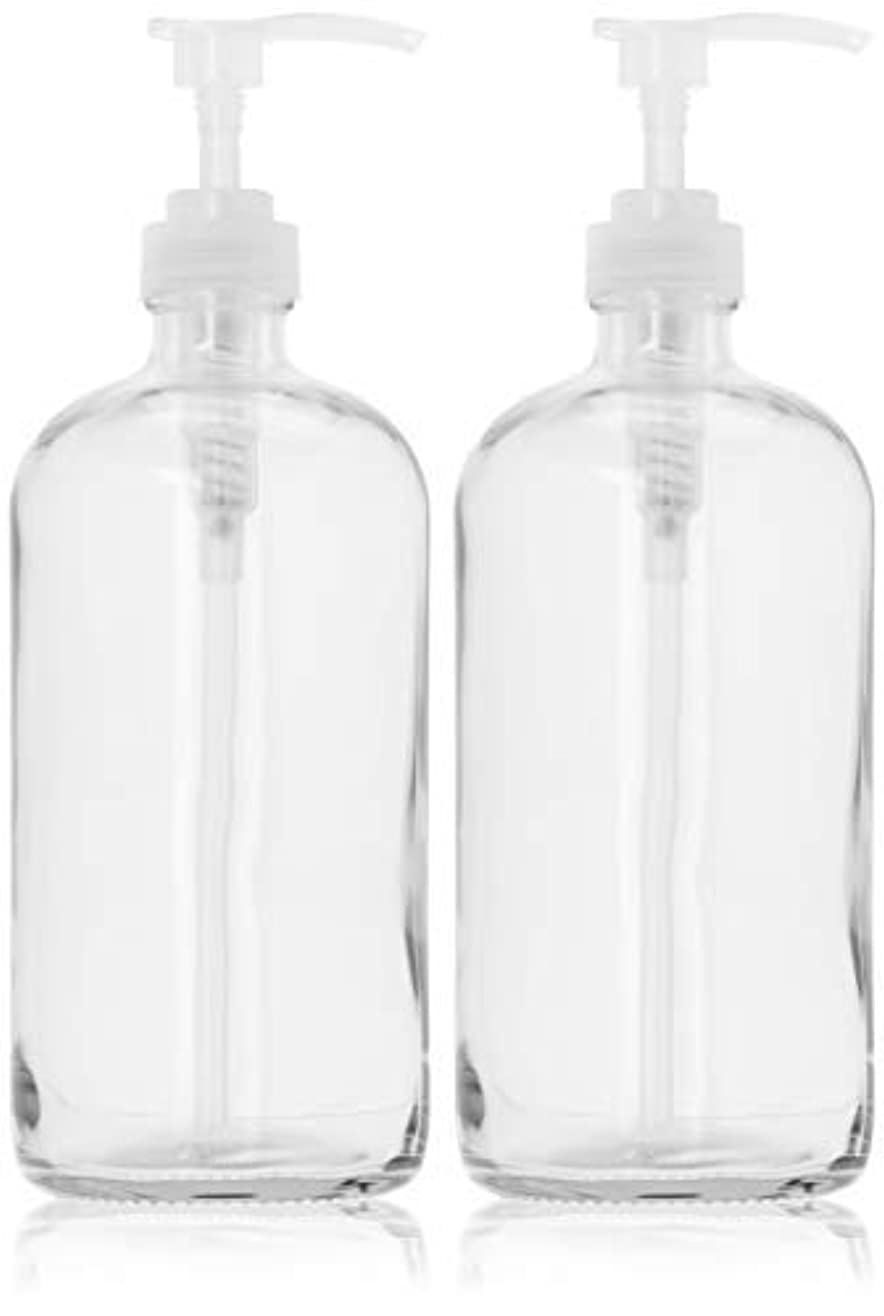 平らにする郵便物スキッパー32-Ounce Large Clear Glass Boston Round Bottles w/Natural Color Pumps. Great for Lotions, Soaps,Oils, Sauces -...