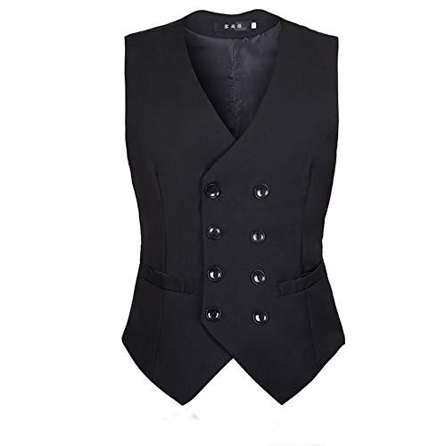 Masvis ベスト ジレ メンズ スーツベスト ビジネス 無地 ダブルブレスト ラペルドベスト フォーマル スーツ仕立て スリム フィット 紳士 尾錠付き 上質 結婚式 卒業式 大きいサイズ XS-5XL