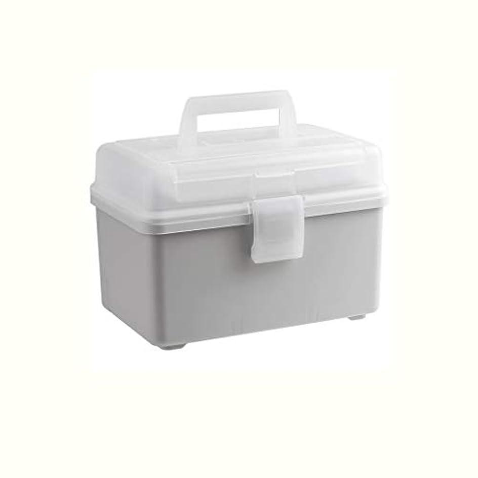 本物熱心な前提条件大容量薬箱家庭用ポータブル薬箱薬収納ボックスプラスチック薬箱 CQQO (Color : Gray)