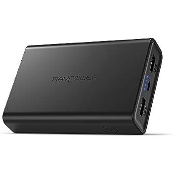 RAVPower モバイルバッテリー 10000mAh 小型 軽量 大容量 急速充電 iSmart2.0機能(2.4A入力、 2ポート 、2.4A出力) 2ポート iPhone Android 対応 RP-PB005 N (黒)