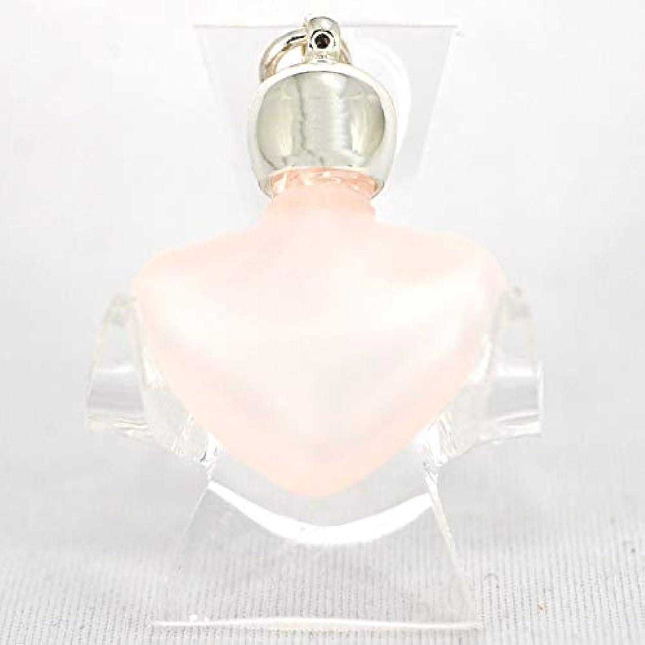 元のクリープジョグミニ香水瓶 アロマペンダントトップ ハートピンクフロスト(ピンクすりガラス)0.8ml?シルバー?穴あきキャップ、パッキン付属【アロマオイル?メモリーオイル入れにオススメ】