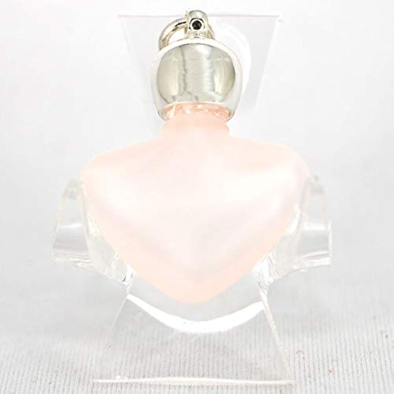 へこみ家畜与えるミニ香水瓶 アロマペンダントトップ ハートピンクフロスト(ピンクすりガラス)0.8ml?シルバー?穴あきキャップ、パッキン付属【アロマオイル?メモリーオイル入れにオススメ】