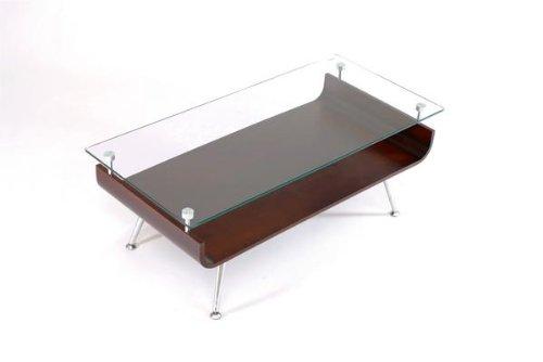 茶木目 曲げ木 ガラステーブル 96cm