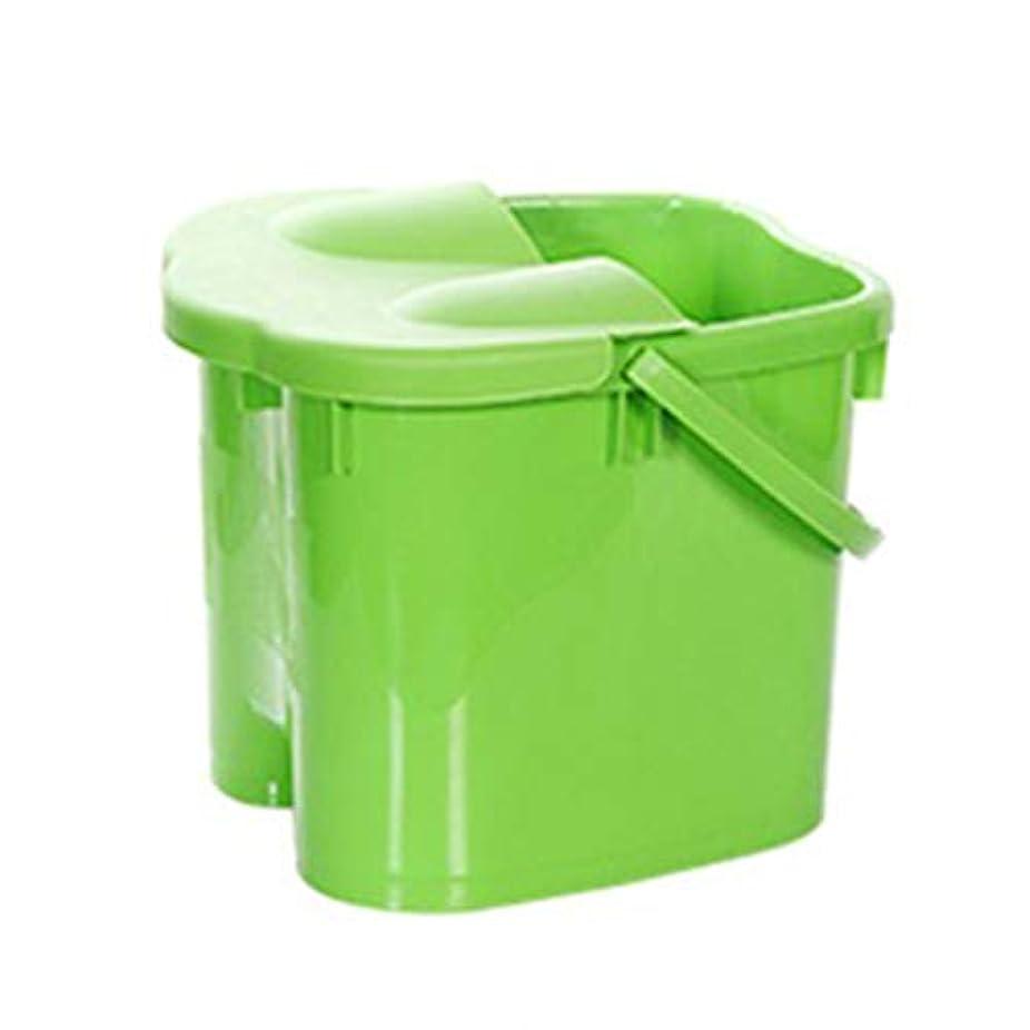 サーキュレーション飢え後方フットバスバレル- 高さフットバスバレルマッサージ浴槽ふた付きポータブル世帯大人の足洗面台ペディキュアデトックス Relax foot (色 : Green, サイズ さいず : Height 38cm)