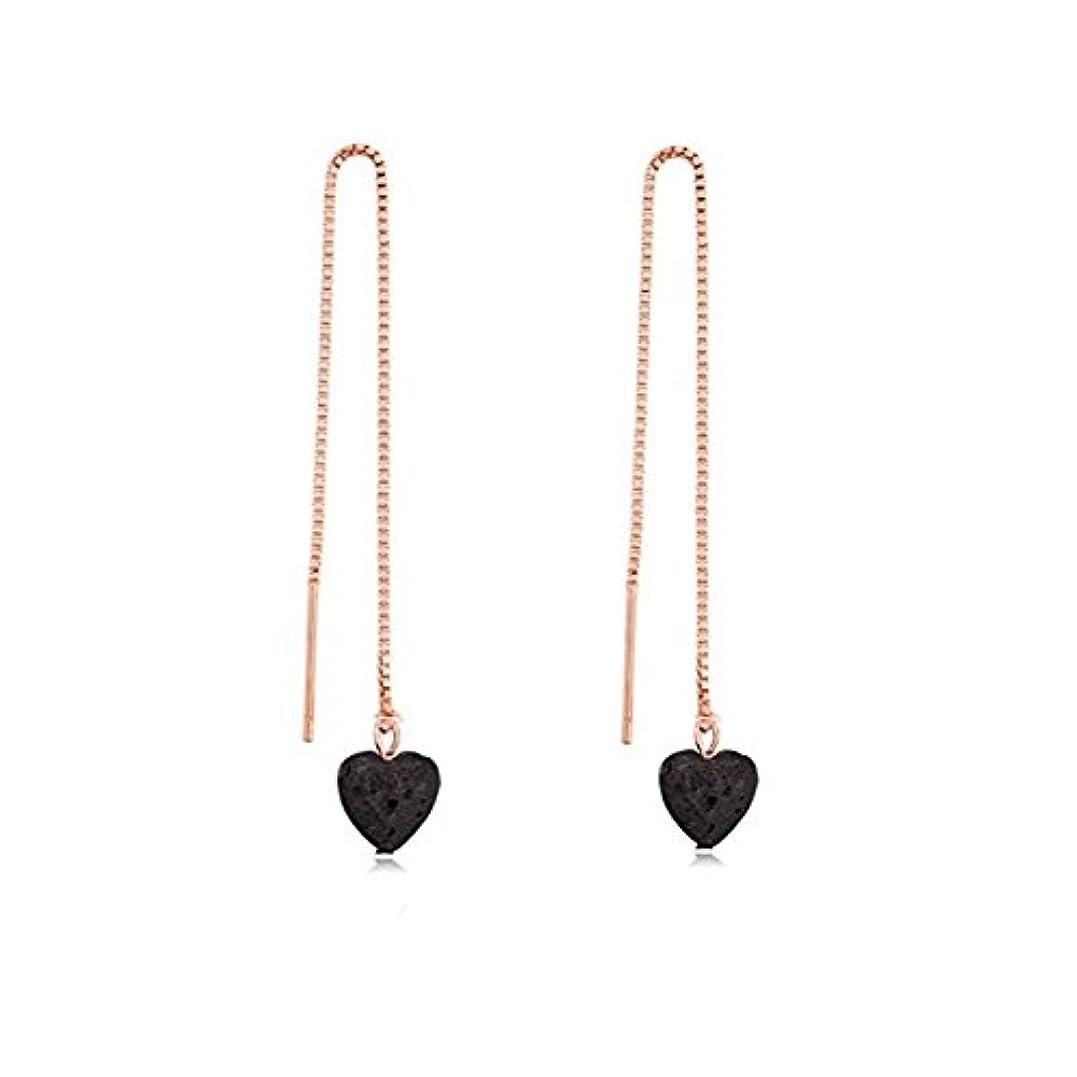 拡声器スコットランド人認知manzhen Small Heart Shape Lava Stone ThreaderイヤリングEssential Oil Diffuserイヤリング