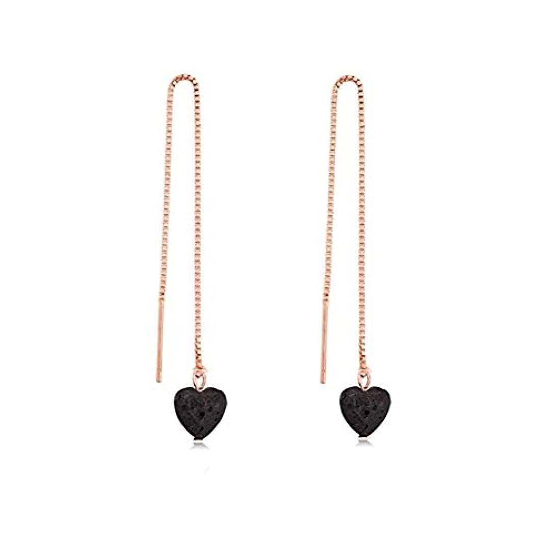 義務づける最終的に不注意manzhen Small Heart Shape Lava Stone ThreaderイヤリングEssential Oil Diffuserイヤリング